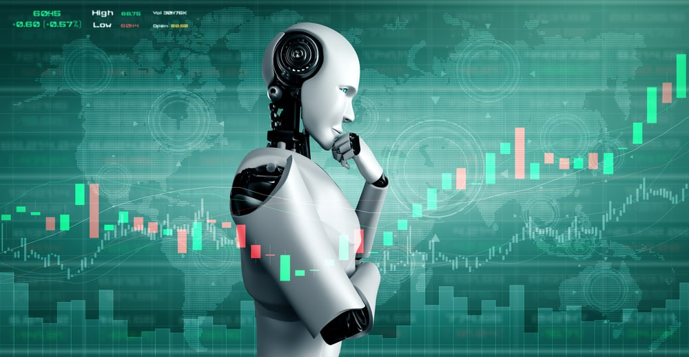 robot using machine learning and artificial intelligence to analyze business data and give advice on investment and trading decision